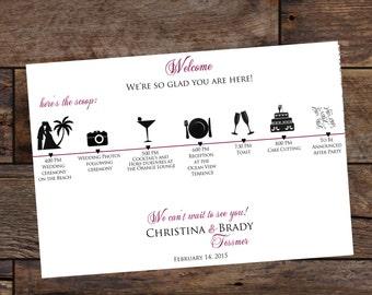 Digital Wedding Itinerary Cards, Wedding Timeline, Weddings, Wedding Outline, Hotel Guest Bags - Wedding Timeline Cards