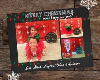 Printed Christmas Card - Holiday Cards - Merry Christmas Cards - Photo Christmas Cards - Chalkboard Christmas Card