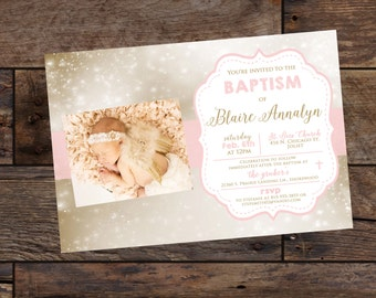 Printed Baptism Invitations - Blush and Pink Invitations With Envelopes - Choose Theme
