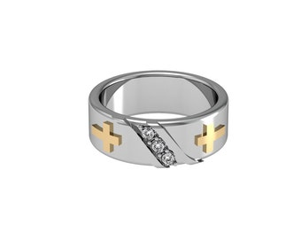 Cross Diamond Diagonal Band in Solid White Yellow Rose Gold 7mm wide | made to order for you within 5-7 business days