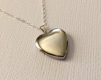 Heart Locket Necklace in Sterling Silver -Beautiful Valentine Gift