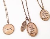 From a Loved One.  Handwriting Necklace. Memory Necklace. Hendersweet. Handwriting Jewelry