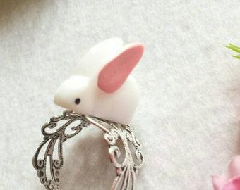 Fun White Rabbit - Adjustable Ring