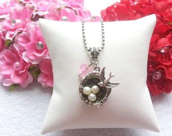 10 Bird Nest Necklaces Party Favors. Baby Shower Favors