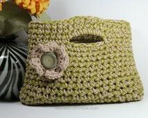 "Easy Crochet PATTERN Small Cotton Purse & Button Flower 11"" x 8"" (28 x 20) cm - PDF 1108"