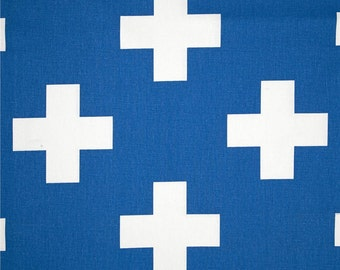 Cobalt Blue Swiss Cross Curtains. Pair of 2 Drapery Panels. Large Plus Sign. Royal Blue Window Treatments.