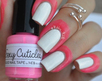 Sexy Cuticles Liquid Nail Tape, contains latex, ammonia FREE, hot pink, no mess, peel clean and glitter removal base coat MDJ Creations