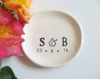 wedding ring dish,  ring holder, engagement, You and Me,  Black and White, Made to Order