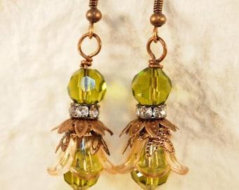 Lucite Flower Earrings, Victorian Earrings, Green Flower Earrings,  Dangle Pierced of Clip-onEarrings. OOAK Handmade Earrings. CKDesigns.us