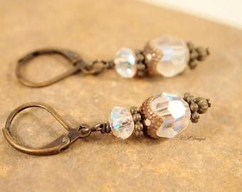 Swarovski Drop Earrings, Vintage Style Swarovski Crystal Earrings, Brass Dangle Pierced or Clip-on Earrings. OOAK Handmade Earrings.