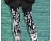 Black Victorian City Leggings, Womens Black Leggings, tights,  womens pants, bottoms, printed tights, yoga, athletic wear bottoms