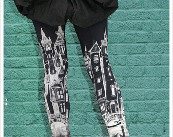 Black Victorian City Leggings, Womens Black Leggings, tights,  womens pants, bottoms, printed tights, yoga, athletic wear bottoms