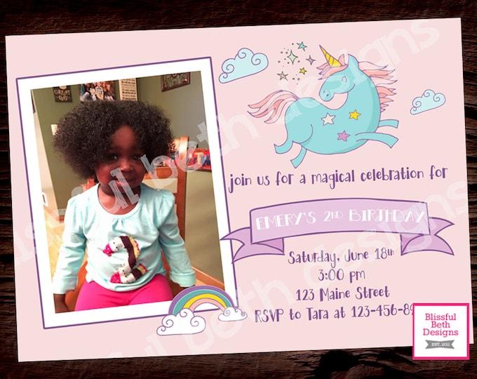 UNICORN PHOTO INVITATION, Printable Unicorn Invitation, Girly Unicorn Invitation, Unicorn Photo Invitation, Birthday Photo Invitation