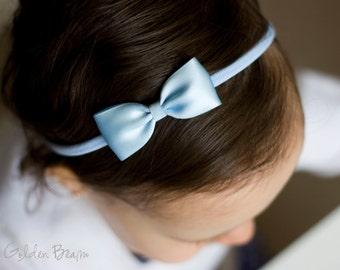 Pastel Blue Baby Headband - Flower Girl Headband - Small Satin Pastel Blue Bow Handmade Headband - Baby to Adult Headband