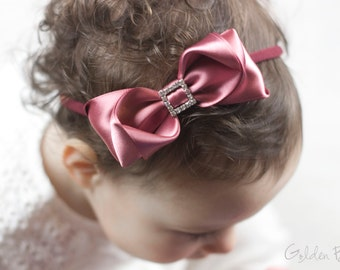 Baby Dusky Rose Charlotte Bow Headband - Flower Girl Headband - Baby Satin Bow - Girls Satin Bow - Baby to Adult Headband