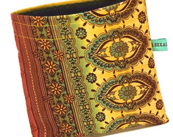 Reusable Snack Bag - Reusable Sandwich Bag - Indian Floral and Mustard Yellow