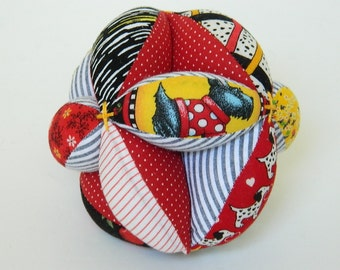 Soft Toys, Baby Clutch Grab Ball, Baby Shower Gift, Red Black and Yellow Baby Toy, Infant Room Decor, Preschool Learning, Handmade