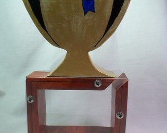 Wooden Bank-First Place Ribbon on Golden Trophy-free personalization