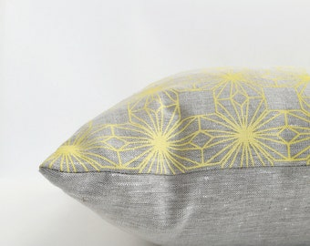 Heart Flowers cushion / pillow cover - hand printed linen Yellow