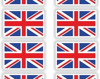 8x British Flags Britain Union Jack for Laptop Book Fridge Guitar Motorcycle Helmet ToolBox Door PC Boat