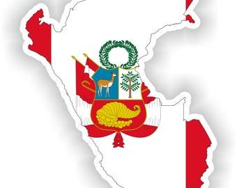 Peru Map Flag Silhouette Sticker for Laptop Book Fridge Guitar Motorcycle Helmet ToolBox Door PC Boat