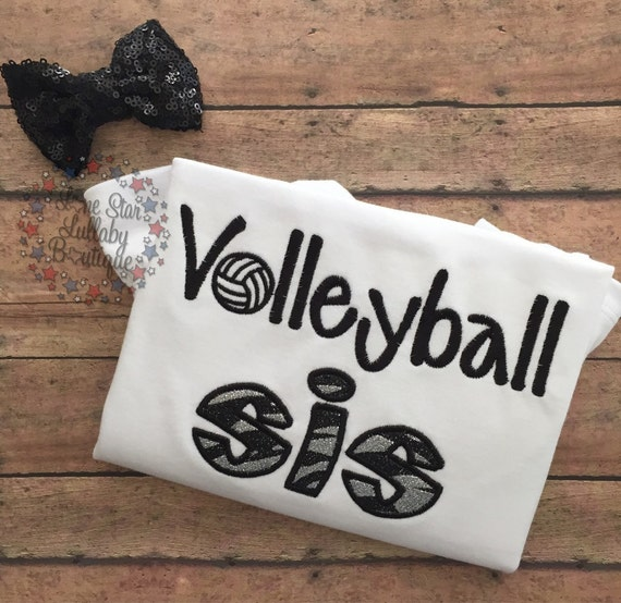 Volleyball sis embroidered shirt girl t toddler