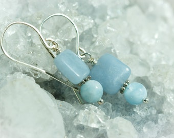 Blue chalcedony and aquamarine earrings