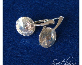 Wedding Swarovski Earrings, Moonlight Crystals, 925 Sterling Silver earrins