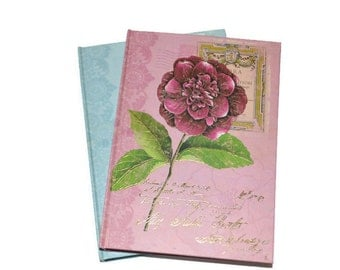 Blue Bird Pink Rose Discount Hardcover Blank Journals Set of Two  5 x 7 Blank Journals