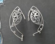 Silver Ear Cuff flower Wing Elf Filigree nature Ear wrap around earring no Piercing -,elf wire wrapped earrings unique fantasy earrings