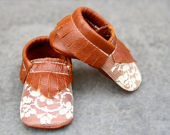 Distressed Walnut Brown Rust and Lace Leather Baby Moccasins