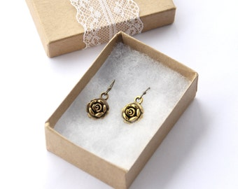 Sweet Rose Earrings, Vintage Style Gift, Small Petite Jewelry, Simple Gold Rose Earrings For Mother Under 25, Romantic Rose Jewelry For Wife