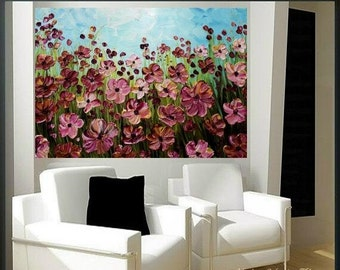 """SALE Enormous Oil painting Abstract Original Modern 48""""x36"""" palette knife signature floral impasto oil painting by Nicolette Vaughan Horne"""