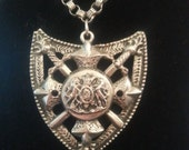 NOW ON SALE Vintage 1960's Large Knight Shield Crown Crest Necklace ** Vintage Jewelry ** Vintage Coat of Arms Accessories
