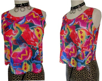 Crazy Abstract 80's Print Neon Beach Loose Crop Top Tank