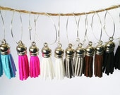 Choose a Color Modern MotionTassel Earrings on Thin Silver Hoops