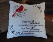 Spiritual Redbird Cardinal Heaven Saying Throw Pillow 18 By 18 Size Burlap Machine Embroidered Envelope Style
