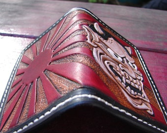 Rising Sun/Hannya Mask heavy duty small custom made leather wallet/card holder
