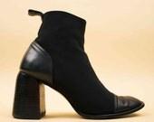 90s Vtg Black Avant Garde CHARLES JOURDAN Neoprene & Leather Sculptural Platform Ankle Boot / Chunky Zip Up Chelsea MOD Minimalist 8 Eu 38.5