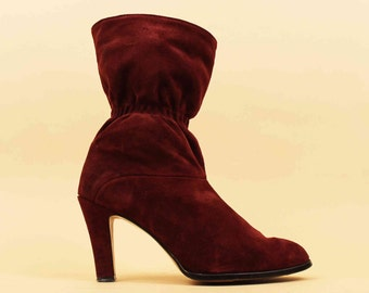 60s 70s Vtg Suede Cranberry Red LEATHER Tall Ankle Boot Pull On MOD Hippie Sculptural High Heel / 10 9.5 Eu 41 42