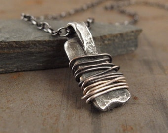 Warding Off Amulet Pendant Necklace Sterling Silver Handmade Jewelry for Men or Women