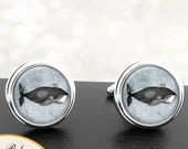 Whales Cufflinks Vintage Whale Image on Textured Handwriting Background Handmade Cuff Links