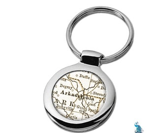 Map Keychain Arkadelphia Arkansas Key Ring Fob