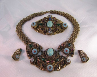 c1940's Haskell Inspired Statement Necklace, Brooch and Earrings Demi Parure