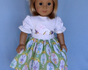 18 inch doll dress and hair clip.  Easter dress with embroidered bunny fits American Girl doll and other 18 inch dolls.