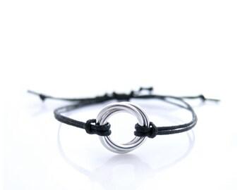 Silver Infinity Bracelet, Infinity Cord Bracelet, Silver Chainmaille Bracelet, Infinity Love Bracelet
