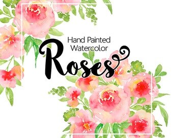 Digital floral clipart - Watercolor flower clipart, Pink rose watercolor clipart, Watercolor Bouquets, Hand Painted clipart flowers