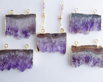 Geode Necklace | Slice Geode | Purple Amethyst | Agate Gemstone Necklace | Gold Long Layering Necklace | Purple Geode Slice | Purple Agate