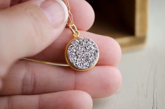 Silver Druzy Necklace | Dainty Druzy Silver | Gold Druzy Necklace | Dainty Druzy | Dainty Silver Charm | Everyday Gifts for Her