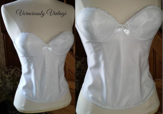 Bustier corset strapless under wire bra 30a 34a wedding bridal for White corset under wedding dress
